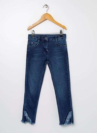 Limon Company Sn57 Pamuklu Normal Bel Düz Püsküllü Paça Indıgo Kız Çocuk Pantolon İndigo